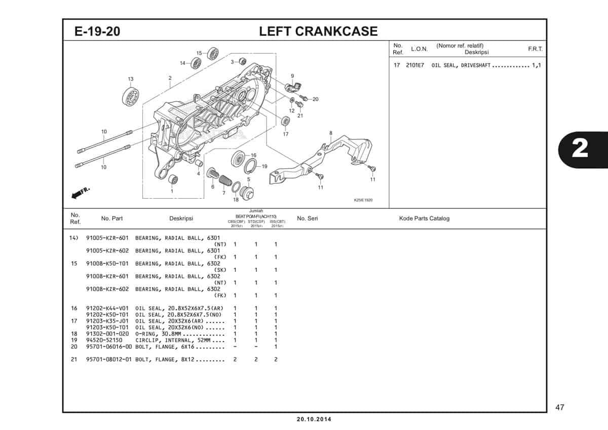 E19 20 1 Left Crankcase Katalog BeAT eSP K25