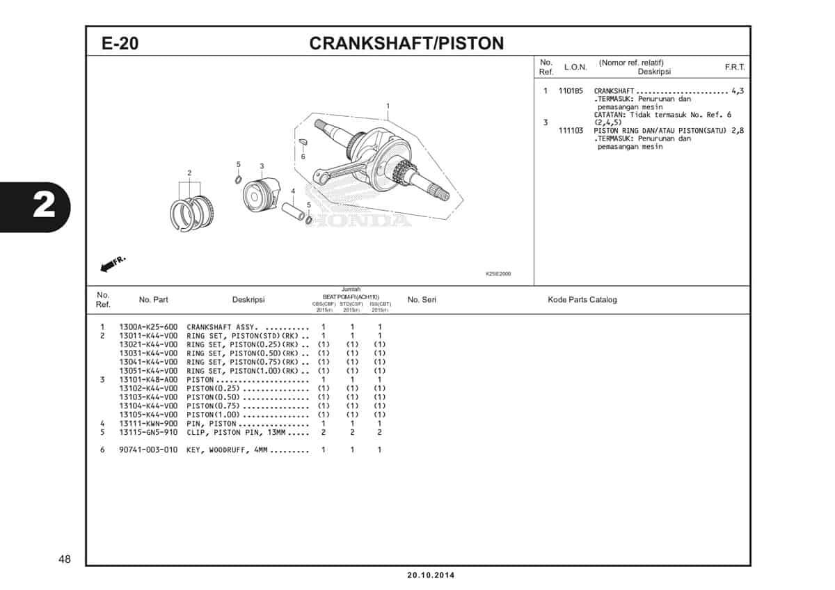 E20 Crankshaft Piston Katalog BeAT eSP K25