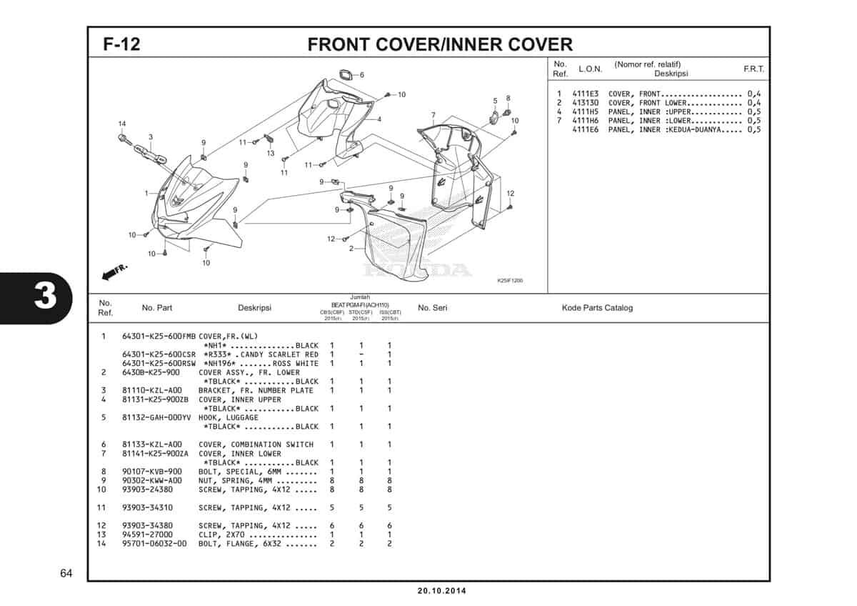 F 12 FronT Cover/Inner Cover Katalog BeAT eSP K25