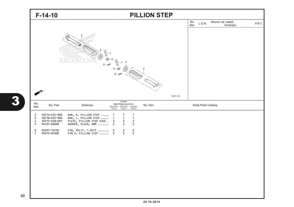 F 14 10 Pillion Step Katalog BeAT eSP K25