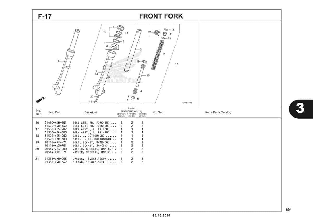 F 17 1 Front Fork Katalog BeAT eSP K25
