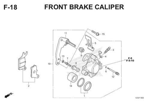 F 18 Front Brake Caliper BeAT eSP K25