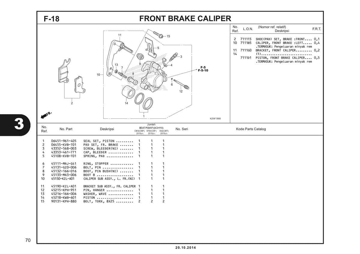 F 18 Front Brake Caliper Katalog BeAT eSP K25