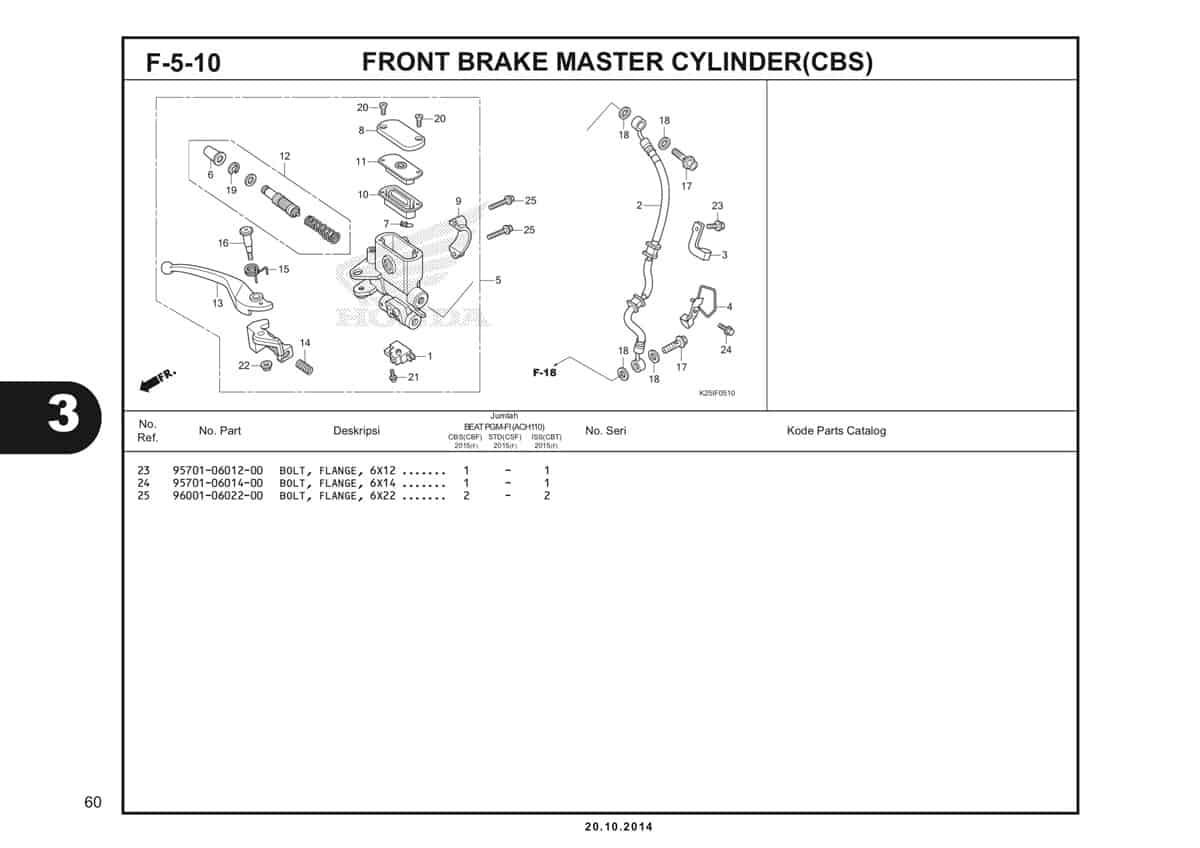 F 5 10 1 Front Brake Master Cylinder(CBS) Katalog BeAT eSP K25
