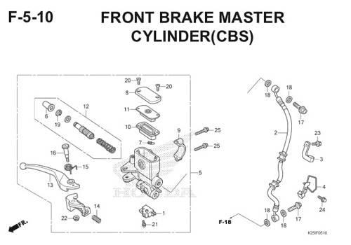 F5 – 10 – Front Brake Master Cylinder (CBS) – Katalog Honda BeAT eSP K25