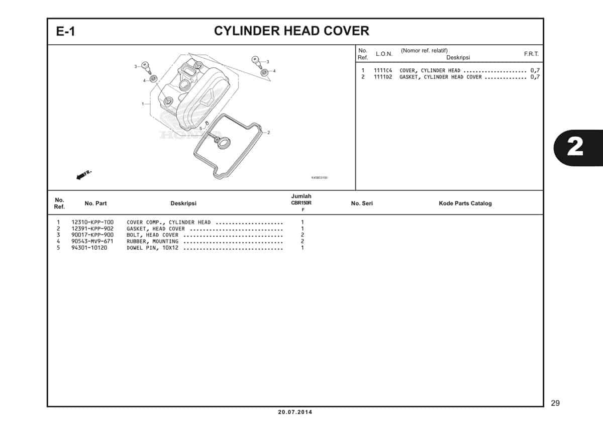 E 1 Cylinder Head Cover Katalog CBR 150R K45A