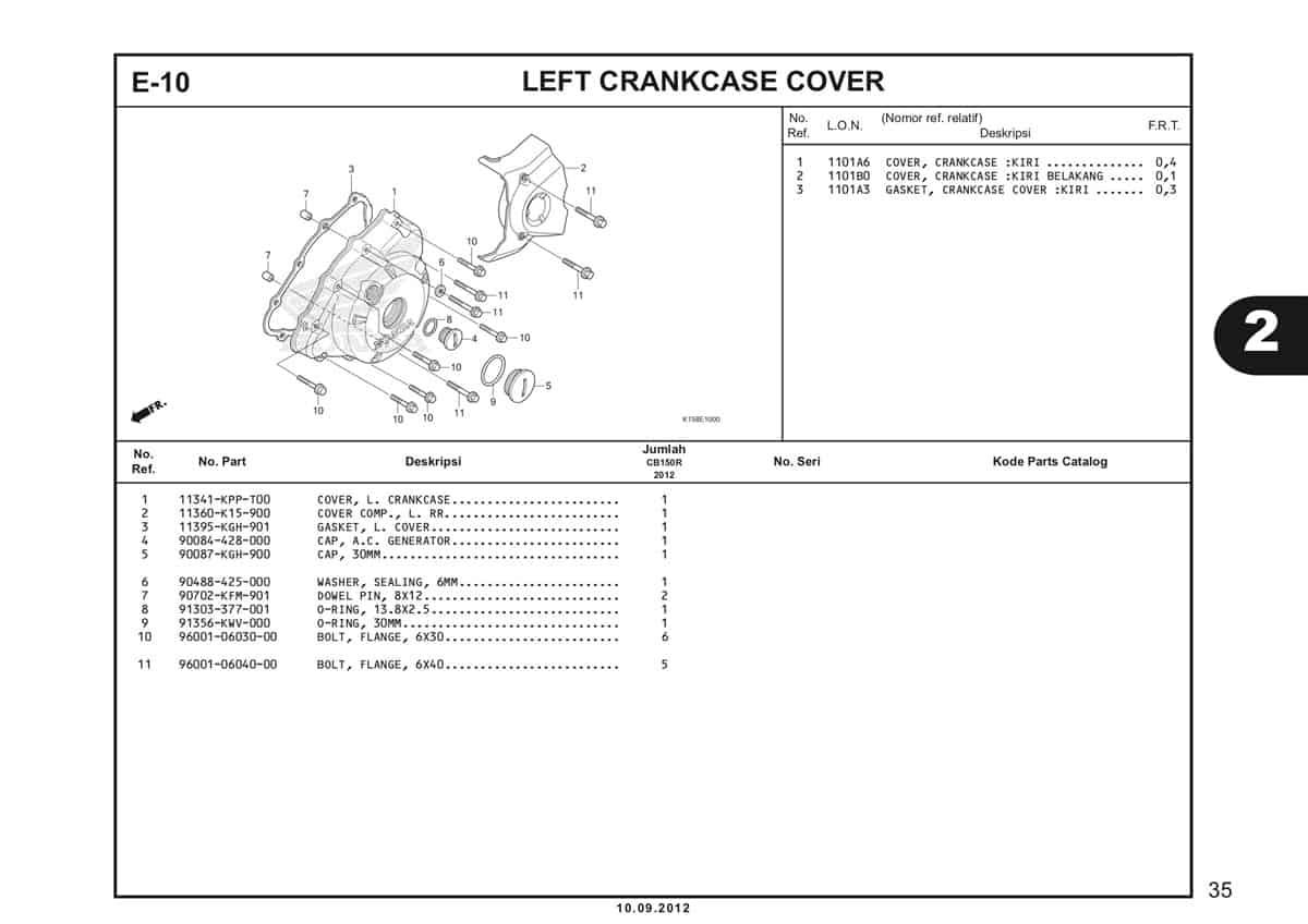 E-10 Left Crankcase Cover Katalog CB150R StreetFire K15