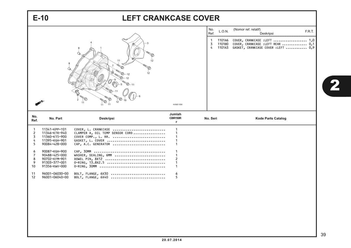 E-10 Left Crankcase Cover Katalog CBR 150R K45A