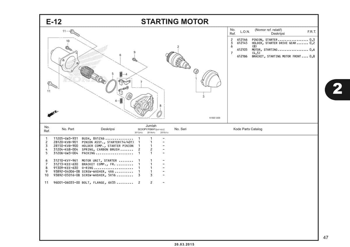 E-12 Starting Motor Katalog Scoopy eSP K16