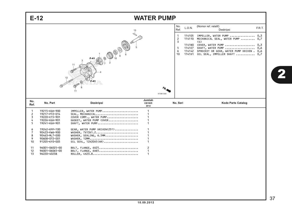 E-12 Water Pump Katalog CB150R StreetFire K15
