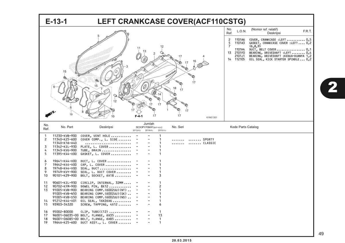 E-13-1 Left Crankcase Cover (ACF110CSTG) Katalog Scoopy eSP K16