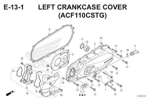 E13 – Left Crankcase Cover (ACF110CSTG) – Katalog Honda Scoopy eSP K16