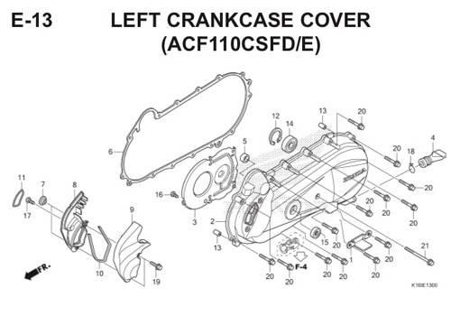 E-13 Left Crankcase Cover (ACF110CSFD/E) Scoopy eSP K16