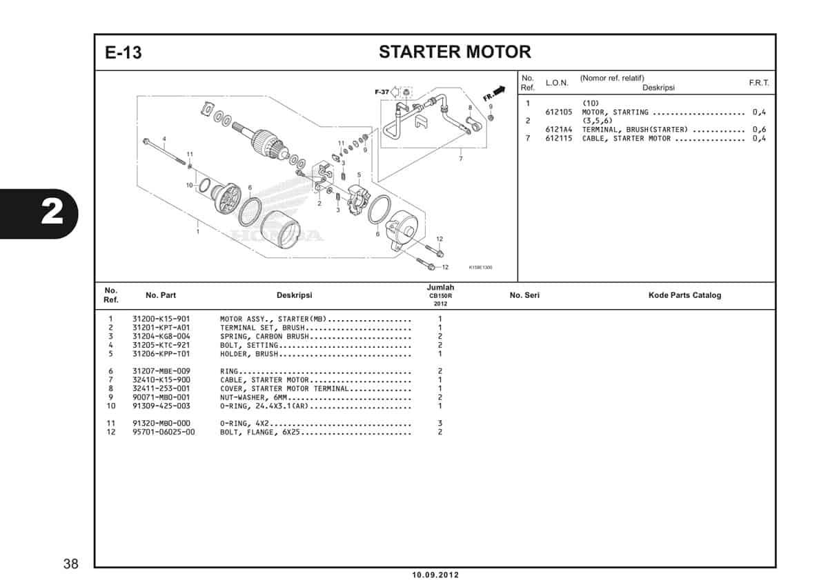 E-13 Starter Motor Katalog CB150R StreetFire K15