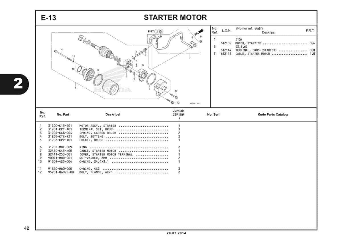 E-13 Starter Motor Katalog CBR 150R K45A