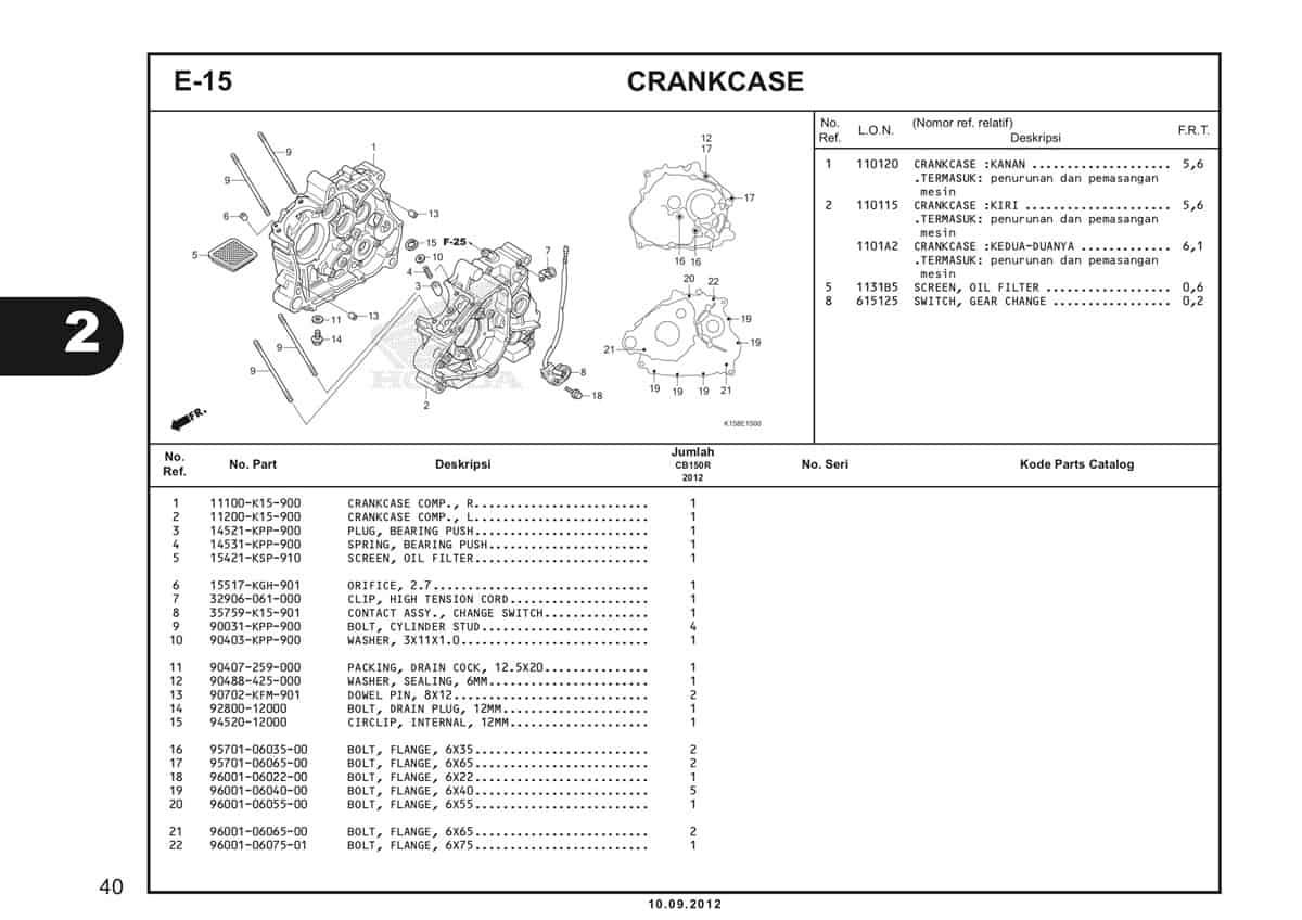 E-15 Crankcase Katalog CB150R StreetFire K15