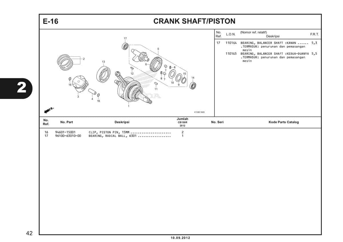 E-16 Crank Shaft Piston Katalog CB150R StreetFire K15