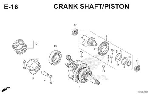 E-16 Crankcase Shaft/Piston CBR 150R K45A