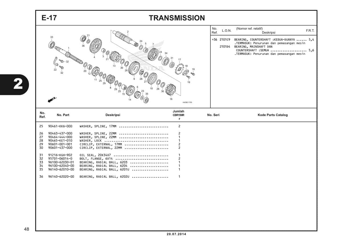 E-17 Transmission Katalog CBR 150R K45A