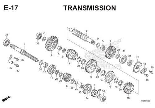 E-17 Transmission CB150R StreetFire K15