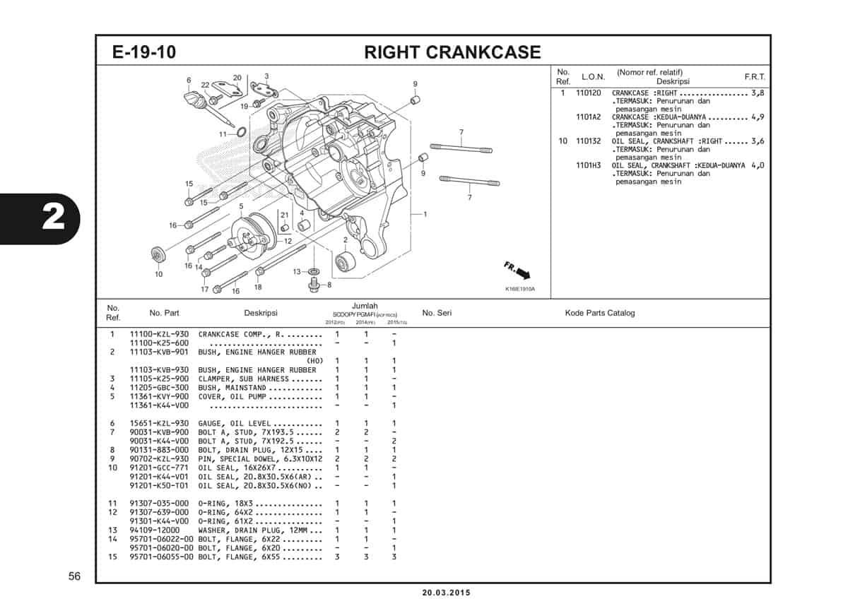 E-19-10 Right Crankcase Katalog Scoopy eSP K16