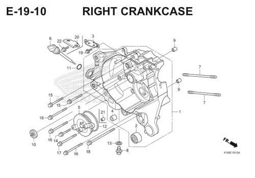 E-19-10 Right Crankcase Scoopy eSP K16