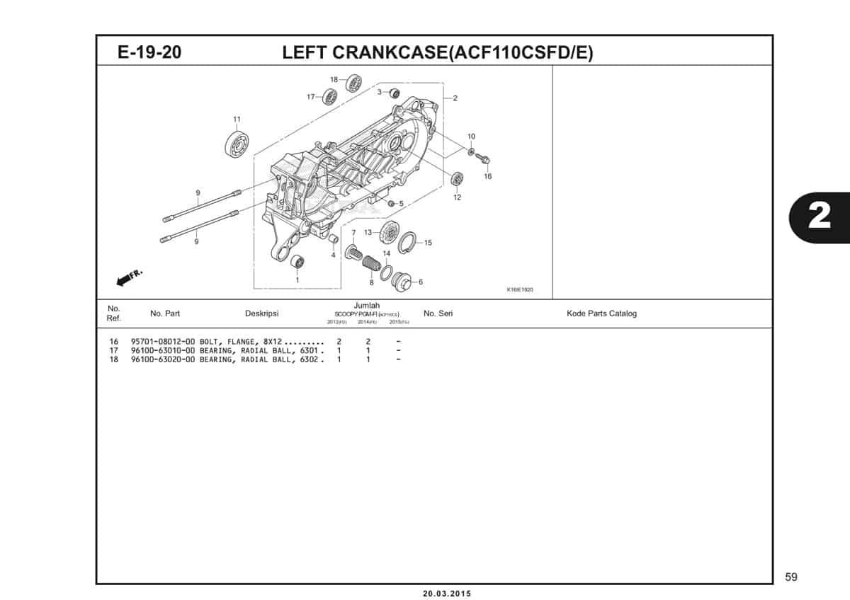 E-19-20 Left Crankcase (ACF110CSFD/E) Katalog Scoopy eSP K16