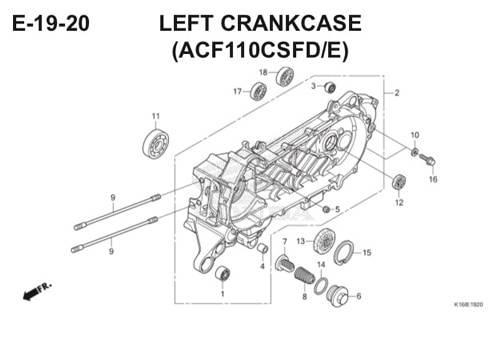 E-19-20 Left Crankcase (ACF110CSFD/E) Scoopy eSP K16