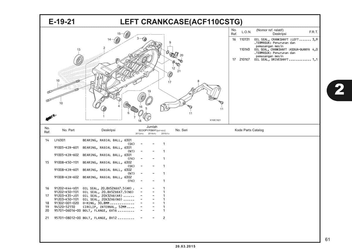 E-19-21 Left Crankcase (ACF110CSTG) Katalog Scoopy eSP K16