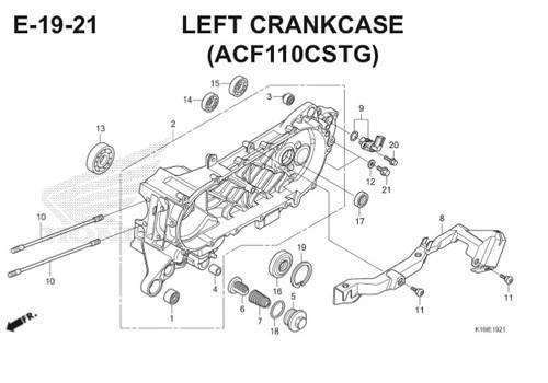 E-19-21 Left Crankcase (ACF110CSTG) Scoopy eSP K16