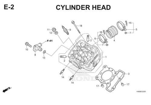 E-2 Cylinder Head CBR 150R K45A