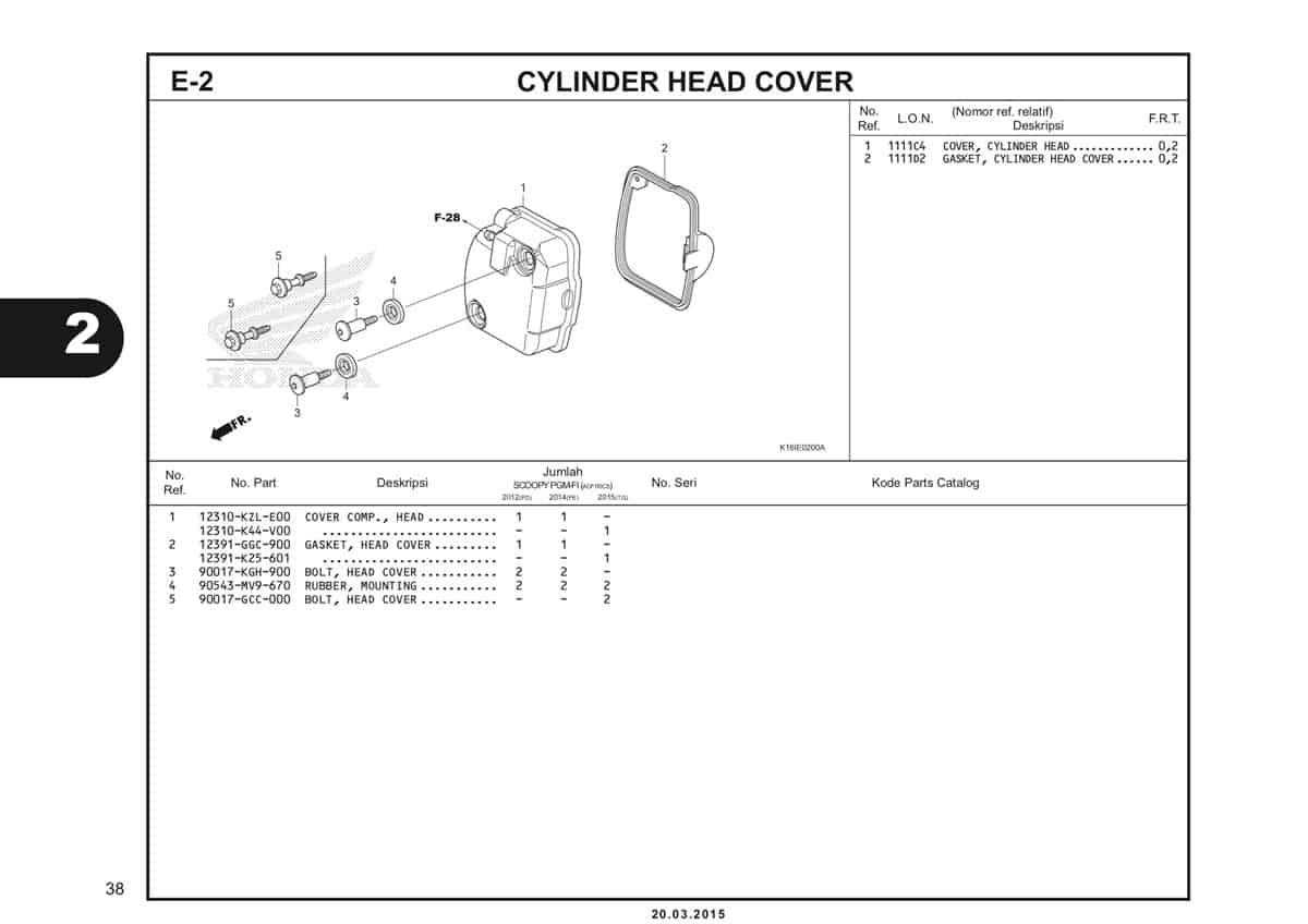 E-2 Cylinder Head Cover Katalog Scoopy eSP K16