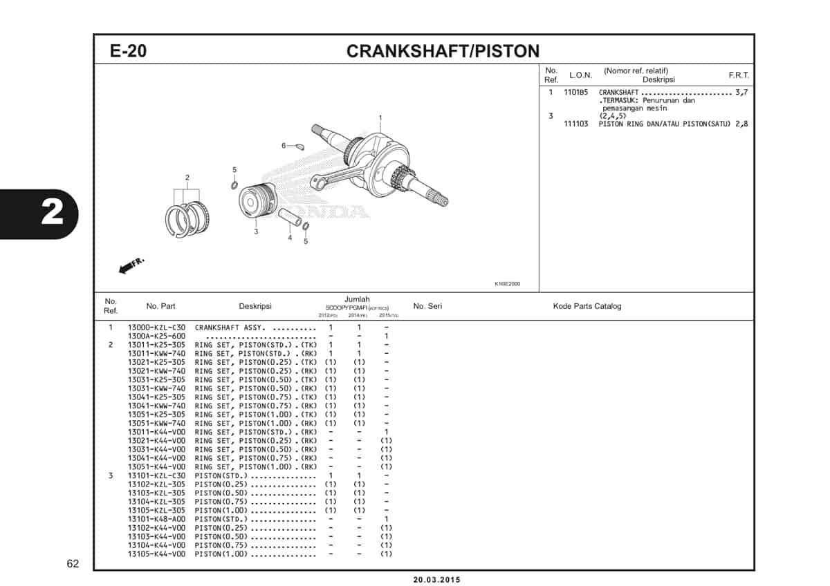 E-20 Crankshaft/Piston Katalog Scoopy eSP K16