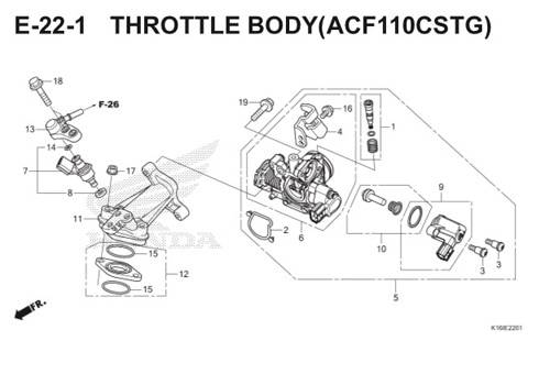 E-22-1 Throttle Body (ACF110CSTG) Scoopy eSP K16