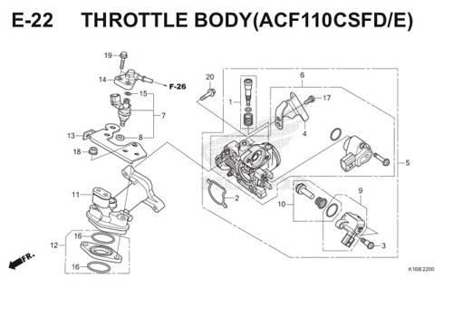E-22 Throttle Body( ACF110CSFD/E) Scoopy eSP K16