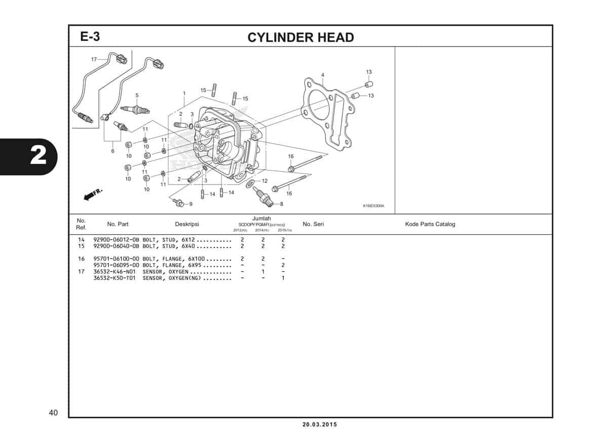 E-3 Cylinder Head Katalog Scoopy eSP K16