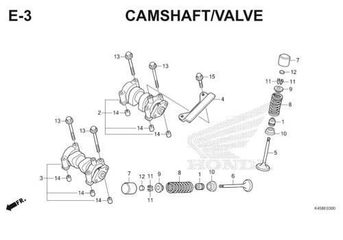 E3 – Camshaft / Valve – Katalog Honda CBR 150R K45A