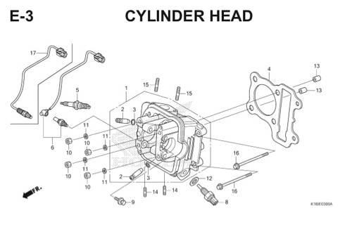 E3 – Cylinder Head – Katalog Honda Scoopy eSP K16