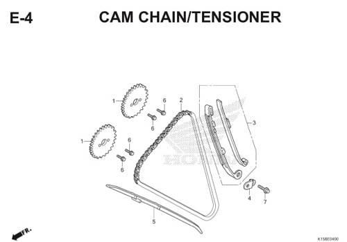E4 – Cam Chain/Tensioner – Katalog Honda New CB150R StreetFire K15