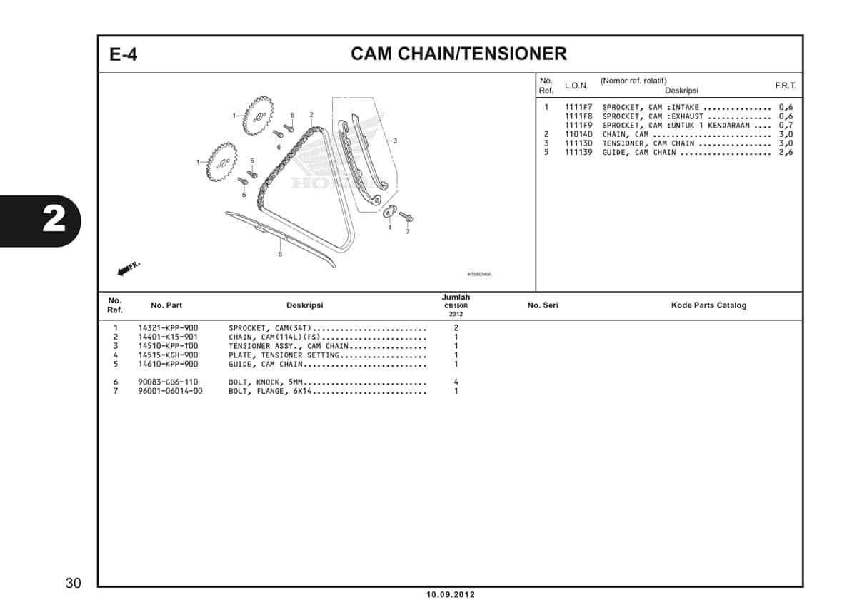 E-4 Cam Chain/Tensioner Katalog CB150R StreetFire K15