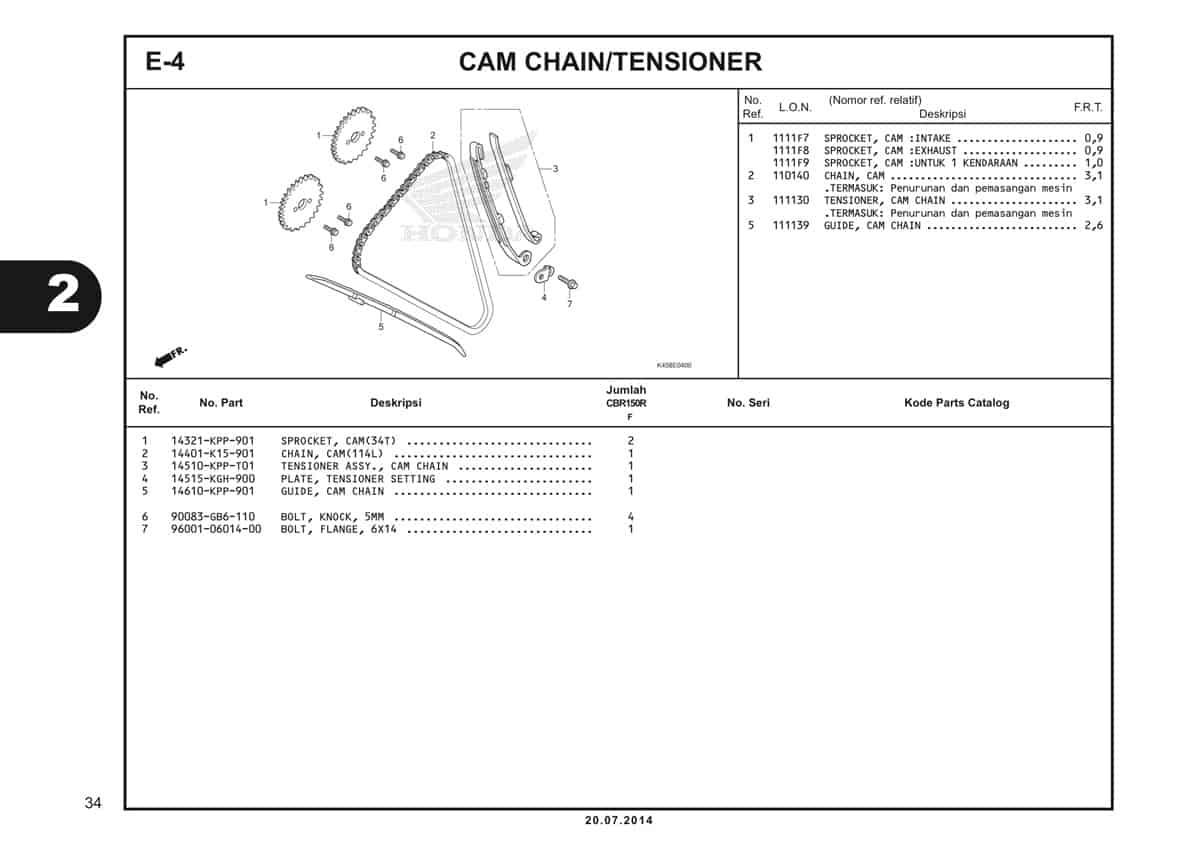 E-4 Cam Chain/Tensioner Katalog CBR 150R K45A