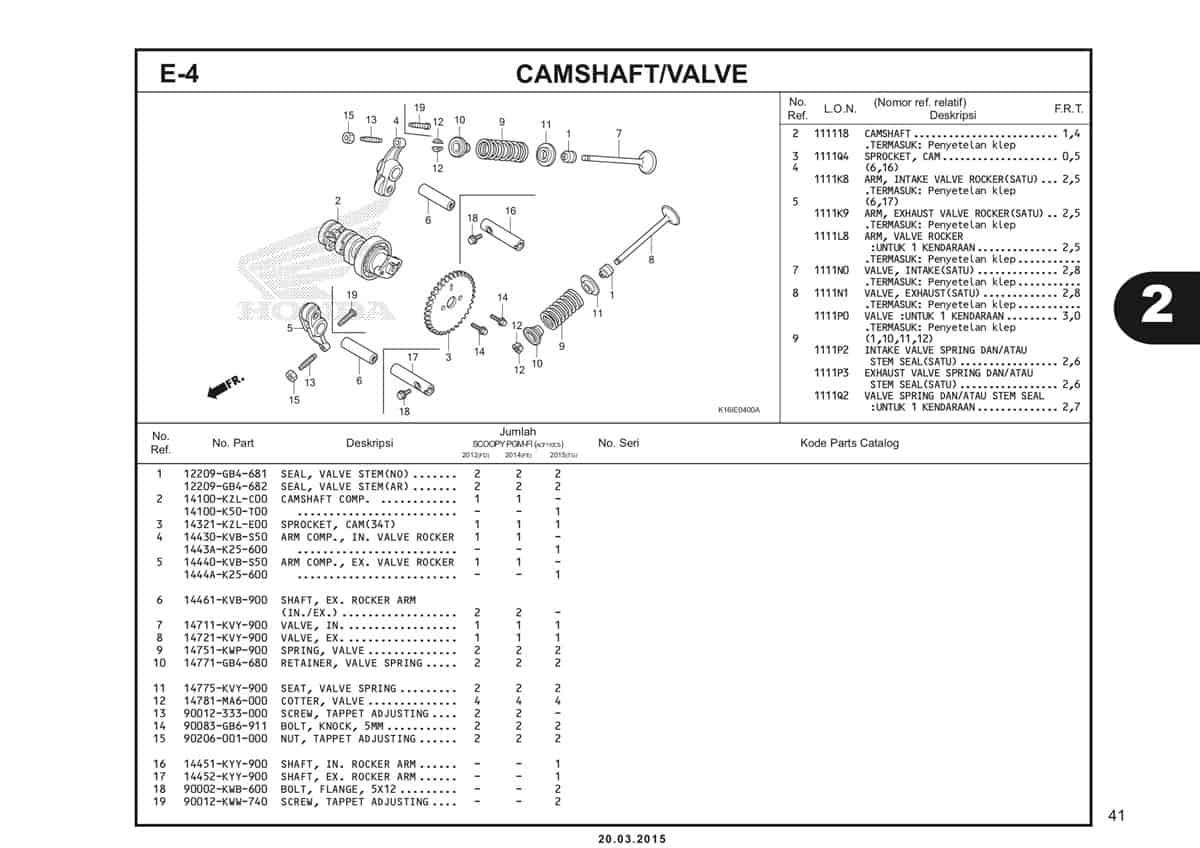 E-4 Camshaft Valve Katalog Scoopy eSP K16
