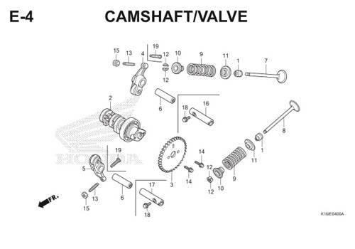 E4 – Camshaft / Valve – Katalog Honda Scoopy eSP K16