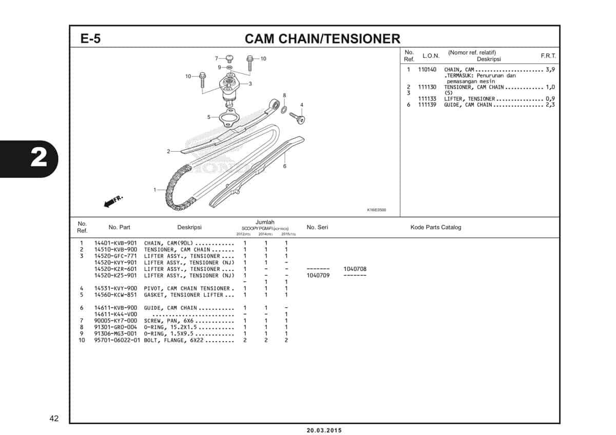 E-5 Cam Chain Tensioner Katalog Scoopy eSP K16