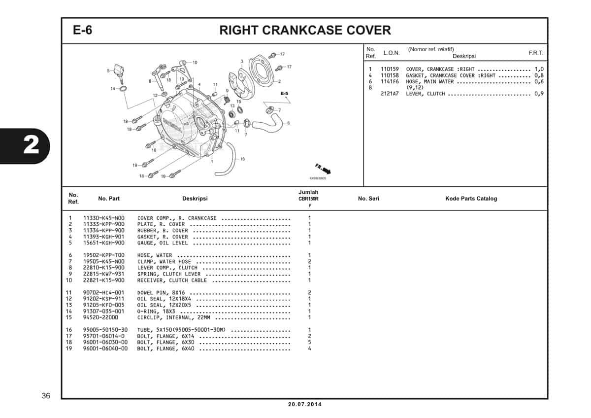 E-6 Right Crankcase Cover Katalog CBR 150R K45A