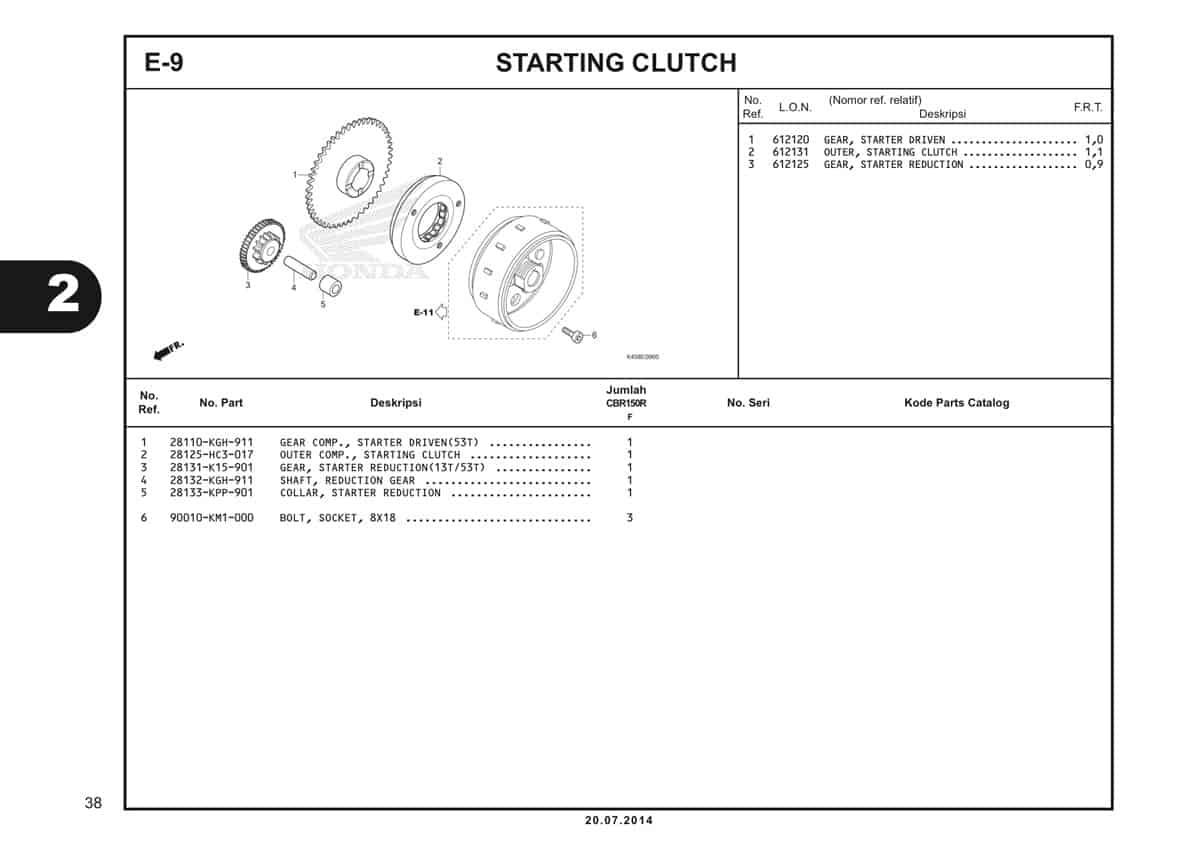 E-9 Starting Clutch Katalog CBR 150R K45A