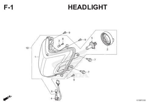 F-1 Headlight CB150R StreetFire K15