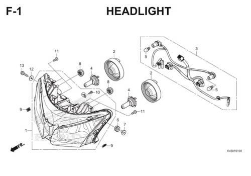 F-1 Headlight CBR 150R K45A