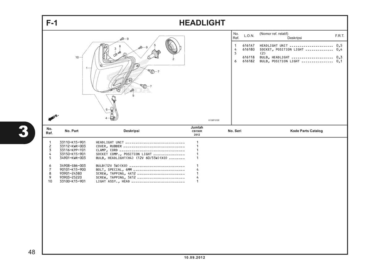 F-1 Headlight Katalog CB150R StreetFire K15