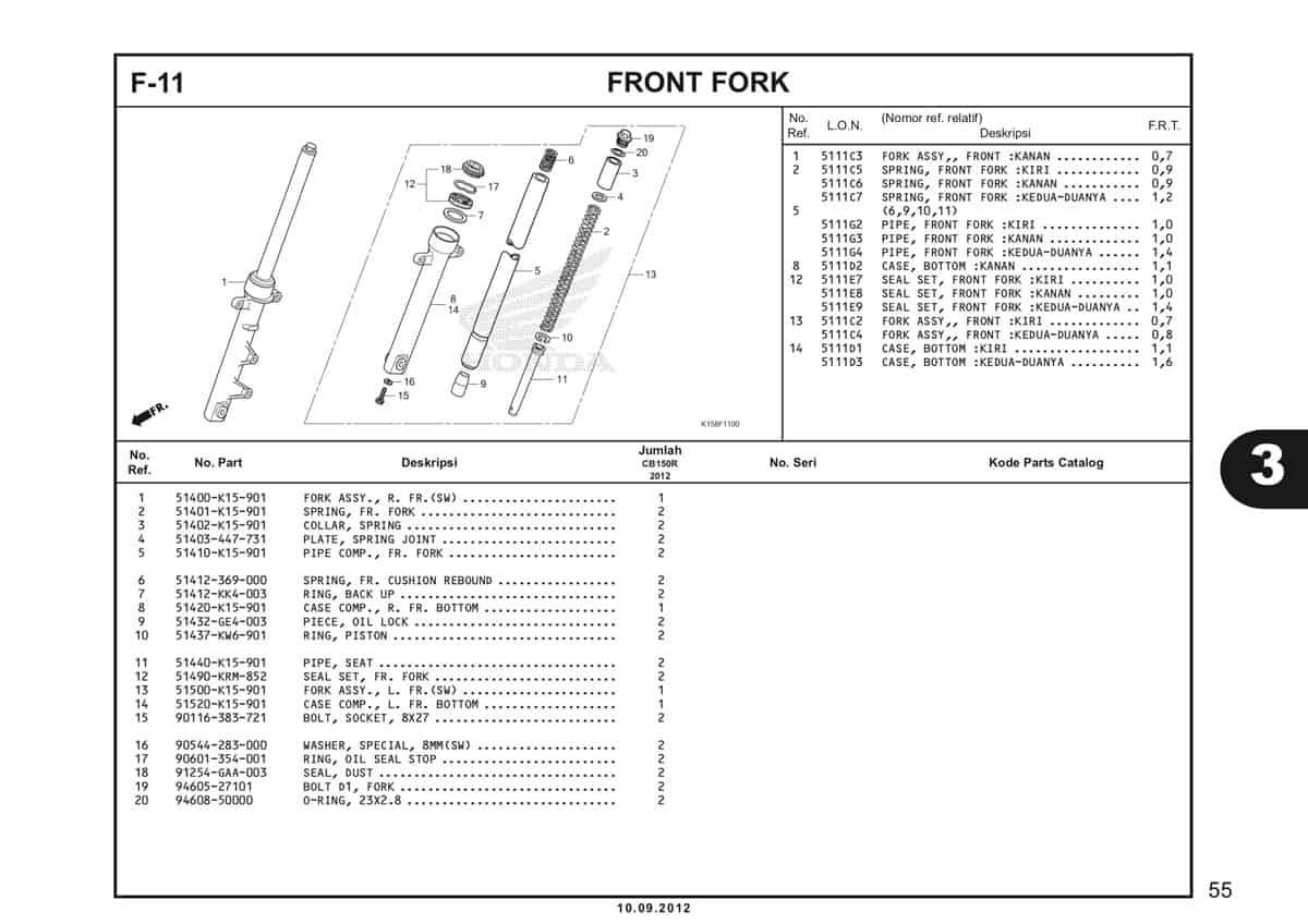 F-11 Front Fork Katalog CB150R StreetFire K15